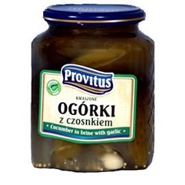 Provitus - Sauergurken mit Knoblauch in Glas 640g