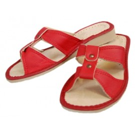 Hausschuhe- Leder-Rot